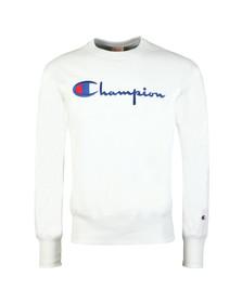Champion Mens White Reverse Weave Script Logo Sweatshirt
