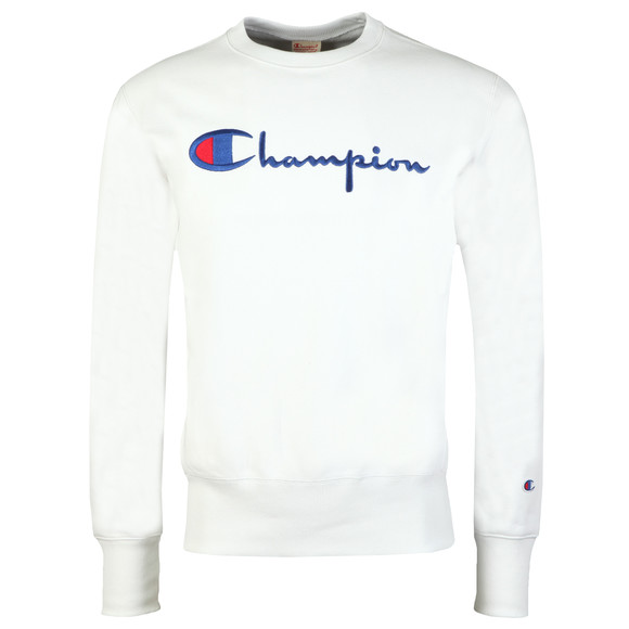 Champion Reverse Weave Mens White Script Logo Sweatshirt main image