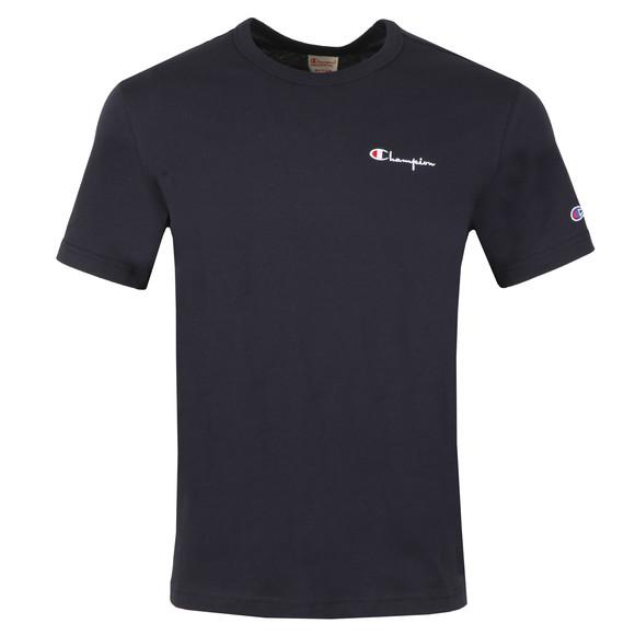 Champion Reverse Weave Mens Blue Small Script Logo T-Shirt