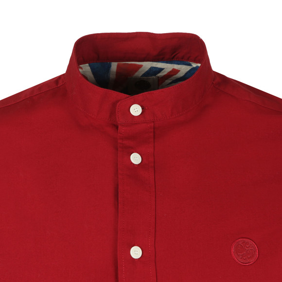 Pretty Green Mens Red Slim Fit Collarless Shirt