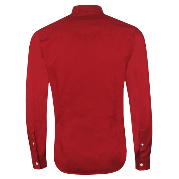 Pretty Green Mens Red Slim Fit Collarless Shirt main image