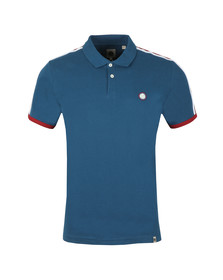 Pretty Green Mens Blue Contrast Panel Polo