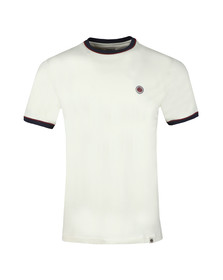 Pretty Green Mens Off-White Pipping Tipped Tee