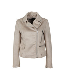 French Connection Womens Beige Aimee Suedette Biker Jacket