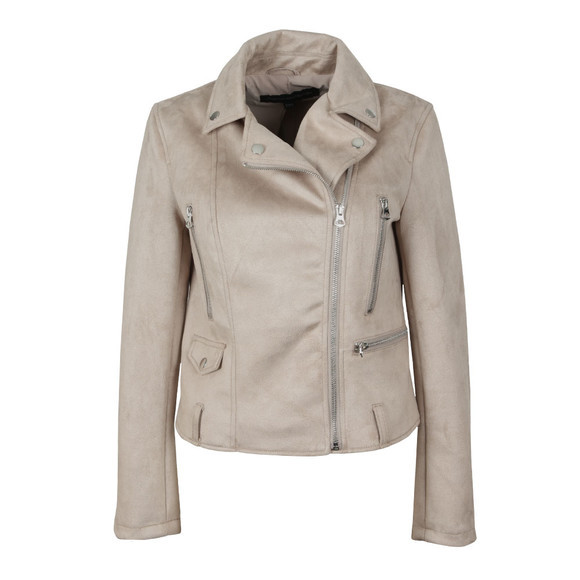 French Connection Womens Beige Aimee Suedette Biker Jacket main image