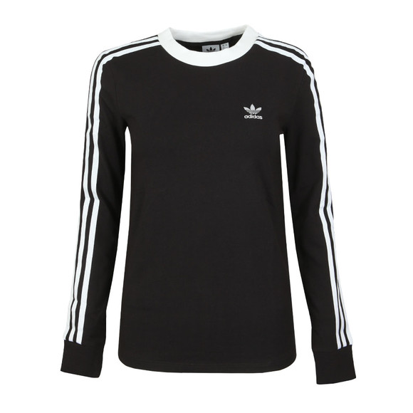 adidas Originals Womens Black 3 Stripes Long Sleeve T Shirt main image