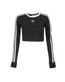 adidas Originals Womens Black Cropped Long Sleeve T Shirt