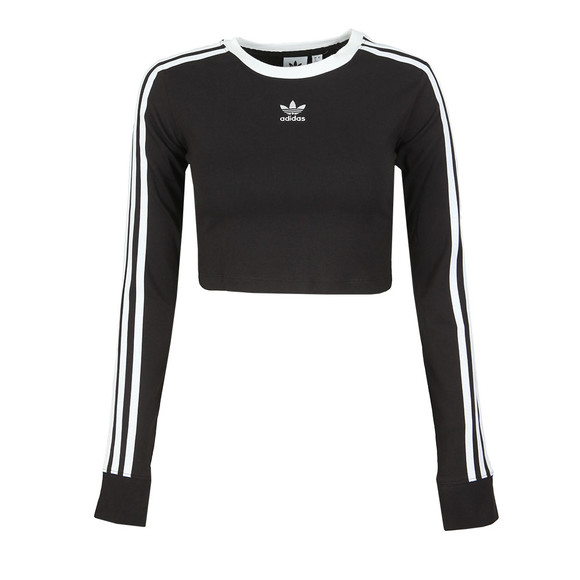 adidas Originals Womens Black Cropped Long Sleeve T Shirt main image