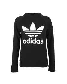 adidas Originals Womens Black Large Trefoil Crew Sweatshirt