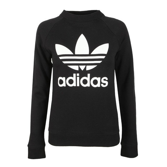 adidas Originals Womens Black Large Trefoil Crew Sweatshirt main image