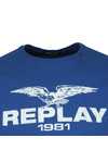 Replay Mens Blue Logo Print Tee