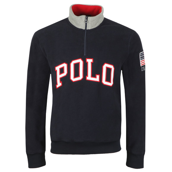 Polo Ralph Lauren Mens Blue Half Zip Fleece Pullover main image