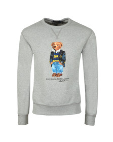 Polo Bear By Ralph Lauren Mens Grey Bear Logo Fleece Sweatshirt