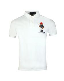 Polo Bear By Ralph Lauren Mens White Bear Logo Mesh Polo Shirt