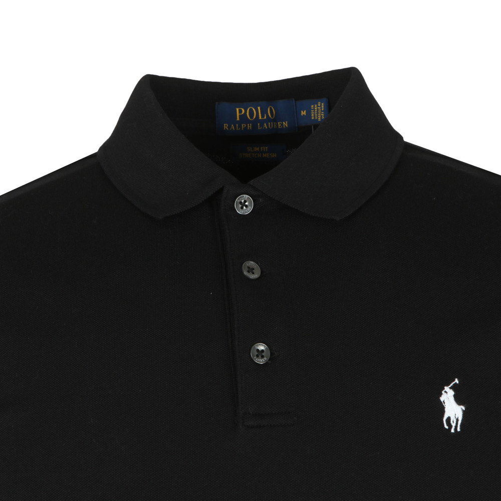 Ralph Lauren Polo Shirt Black Slim Fit Stretch Cotton Mens Spread Collar