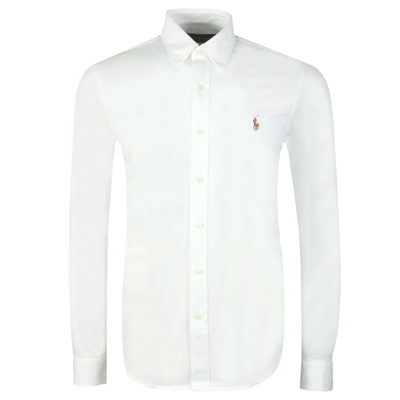 Polo Ralph Lauren Mens White Knitted Oxford Shirt
