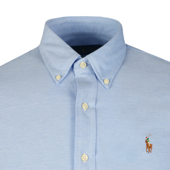 Polo Ralph Lauren Mens Blue Knitted Oxford Shirt