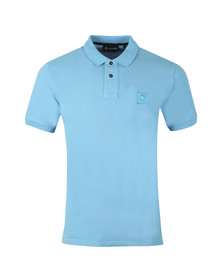 Ma.Strum Mens Blue Pique Icon Polo Shirt