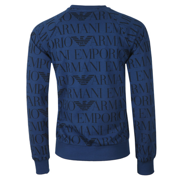 Emporio Armani Mens Blue Printed Logo Sweatshirt main image
