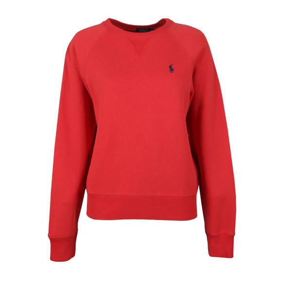 Polo Ralph Lauren Womens Red Fleece Crew Neck Sweatshirt