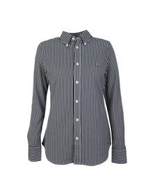 Polo Ralph Lauren Womens Blue Heidi Stretch Knit Oxford Shirt