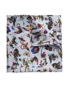 Eton Mens Blue Flower Animal Pocket Square