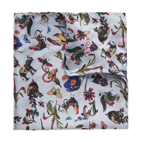Eton Mens Blue Flower Animal Pocket Square
