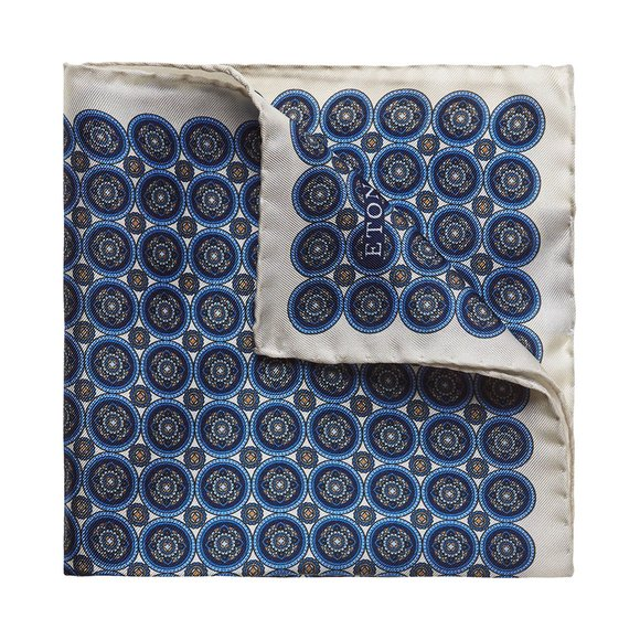 Eton Mens Blue Circle Print Pocket Square main image