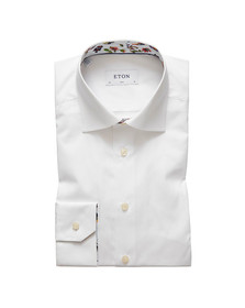 Eton Mens White Floral Animal Detail Shirt
