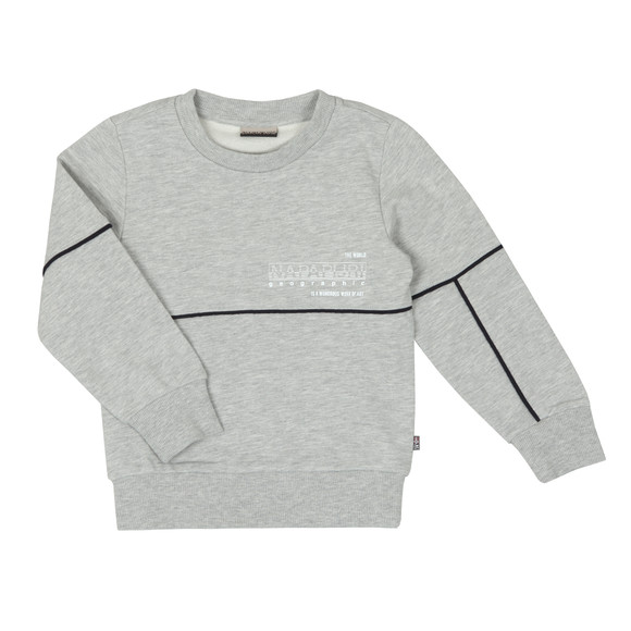 Napapijri Boys Grey Piped Crew Sweatshirt