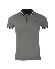 Emporio Armani Mens Grey Contrast Collar Polo Shirt