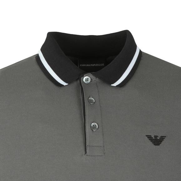 Emporio Armani Mens Grey Contrast Collar Polo Shirt main image