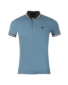 Emporio Armani Mens Blue Contrast Collar Polo Shirt