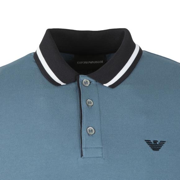 Emporio Armani Mens Blue Contrast Collar Polo Shirt main image