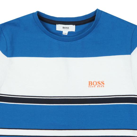 BOSS Boys Blue J25D83 Stripe T Shirt main image