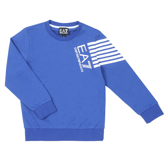 EA7 Emporio Armani Boys Blue Side Logo Sweatshirt