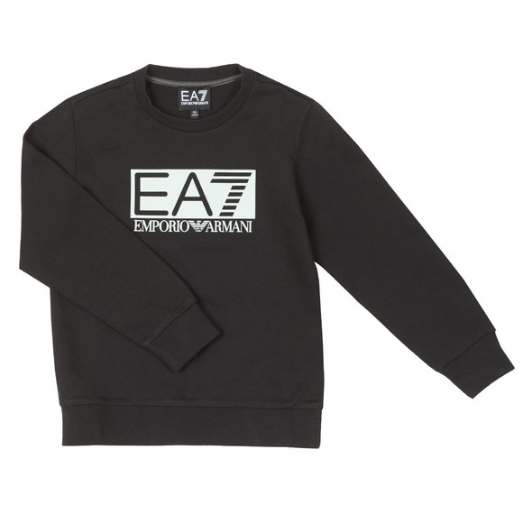 EA7 Emporio Armani Boys Black Large Rubber Logo Sweatshirt
