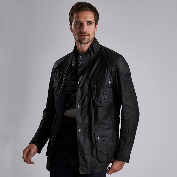 Barbour International Mens Black Lightweight Lockseam Wax Jacket main image