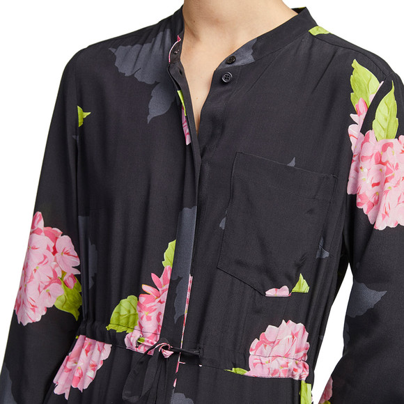 French Connection Womens Black Eleonore Drape Midi Shirt Dress main image