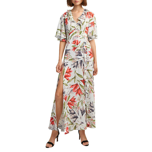 French Connection Womens Blue Cadencia Crepe V Neck Maxi Dress main image
