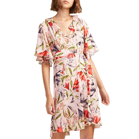French Connection Womens Pink Cadencia Crepe Short V Neck Dress main image