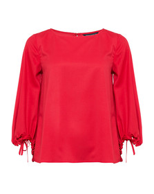 French Connection Womens Orange Crepe Light Solid Puff Sleeve Top