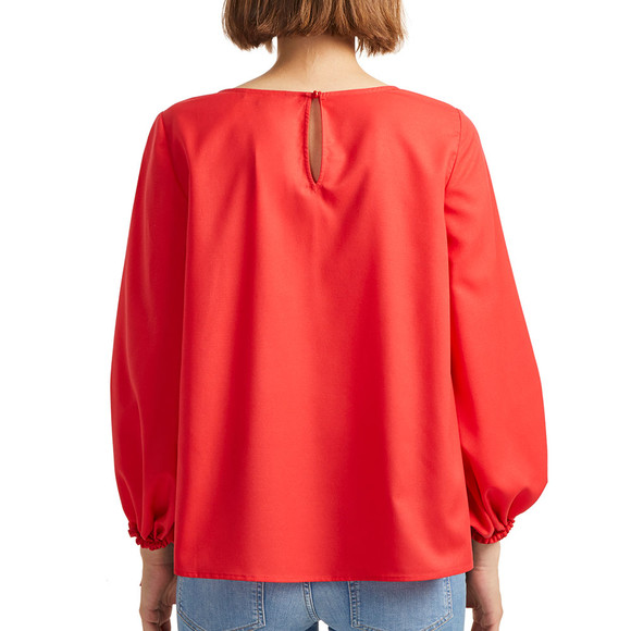 French Connection Womens Orange Crepe Light Solid Puff Sleeve Top main image