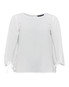 French Connection Womens White Crepe Light Solid Puff Sleeve Top