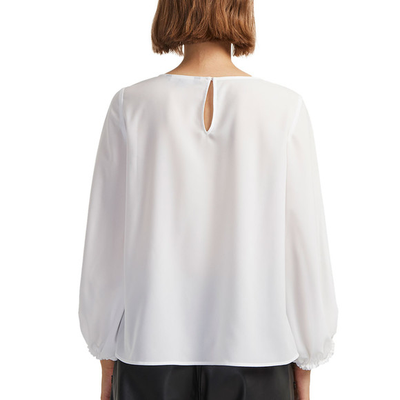 French Connection Womens White Crepe Light Solid Puff Sleeve Top main image