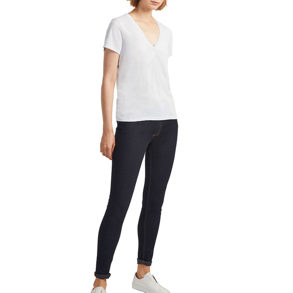 French Connection Womens Blue Hetty V Neck Jersey Top main image