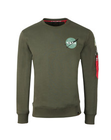 Alpha Industries Mens Green Space Shuttle Sweat
