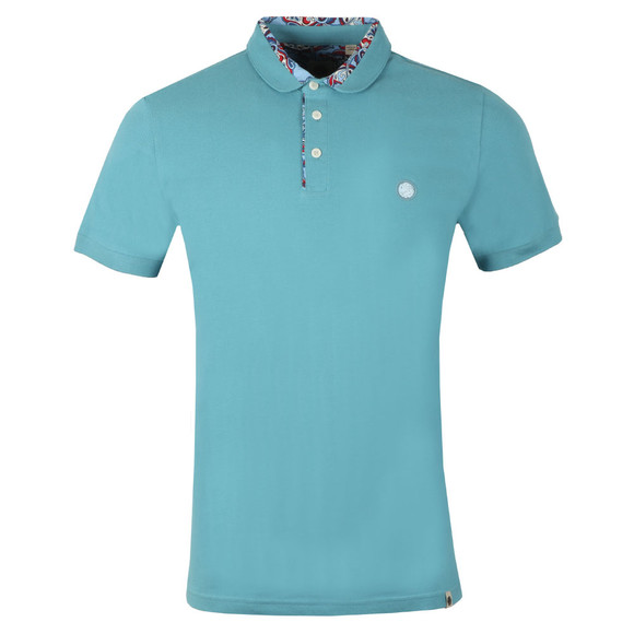 Pretty Green Mens Blue Paisley Print Collar Polo main image