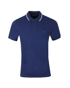 Ma.Strum Mens Blue Icon Tipped Pique Polo