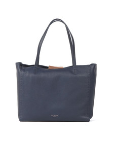 Ted Baker Womens Blue Clarkia Soft Grain Faceted Bar Shopper